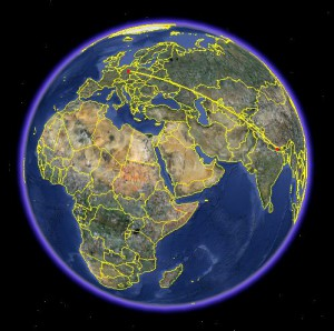 Kathmandu nach Göttingen (Quelle: Google Earth)