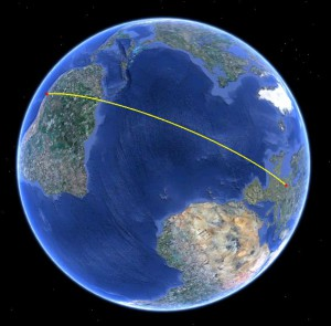 Lima nach Göttingen (Quelle: Google Earth)