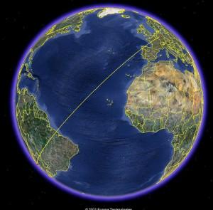 Santiago de Chile nach Göttingen (Quelle: Google Earth)